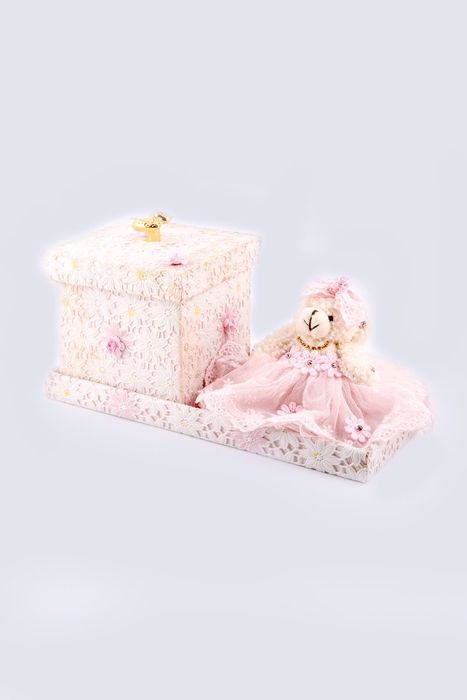 Birth announcement pink teddy boxes