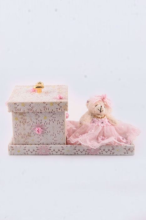 Picture of Birth announcement pink teddy boxes